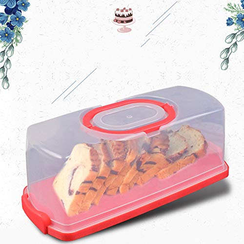 YXTHON Portable Plastic Rectangular Loaf Bread Box with Transparent Lid, Bread Keeper for Carrying and Storing Loaf Cakes Bread Box, Bread Keeper, Container Server