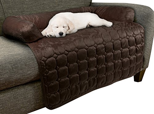 """Petmaker Furniture Protector Pet Cover for Dogs and Cats with Shredded Memory Foam Filled 3-Sided Bolster Soft Plush Fabric by – 35"""" x 35"""" Brown"""