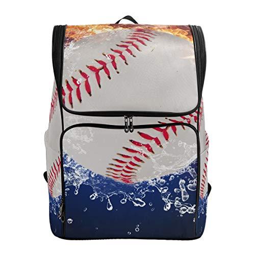 Schulranzen Baseball in Feuer Flames und Wasser Student Laptop Buch Tasche Rucksack für Teenager Jungen und Mädchen