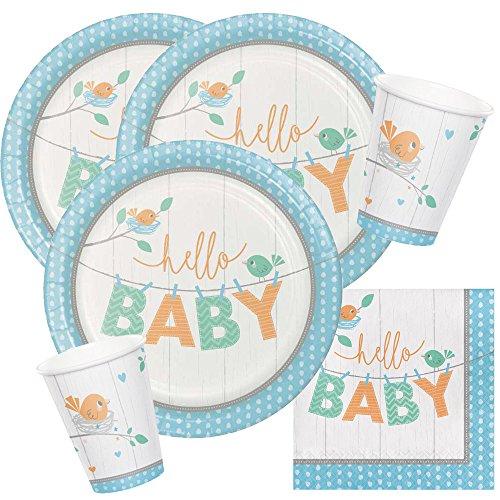 Unbekannt 32-teiliges Party-Set Baby Shower - Hello Baby Boy Teller Becher Servietten für 8 Personen
