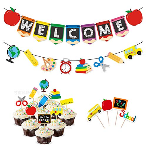 Welcome Banner Kids Back to School Theme Party 16 pcs Back to School Cupcake Topper First Day New Grade of Class Pennant Ideas Photo Props Decoration Supplies