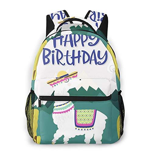Laptop Rucksack Schulrucksack Lama Alles Gute zum Geburtstag 057, 14 Zoll Reise Daypack Wasserdicht für Arbeit Business Schule Männer Frauen