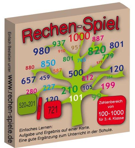 Rechen-Spiel Zahlenbereich 100-1000, leicht Lernen mit Karteikarten
