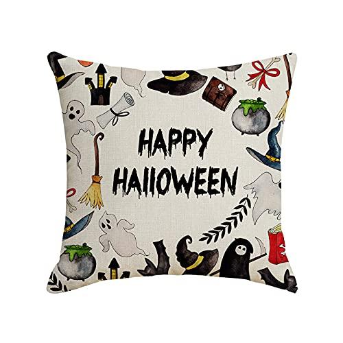 Funda de Almohada de Halloween 40x40cm Asiento Dormitorio Pareja Funda de cojín (Monstruo Oscuro) -sin Almohada