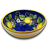 Large Ceramic Bowl for kitchen - Italian dinnerware pasta bowl - Yellow White Blue Lemon serving tray - Hand painted Tuscan pottery bowls - Made in Italy plates - Ceramics salad tuscan soul platter