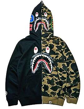 Big Mouth Shark Ape Bape Camo Mens Women Hoodies Sweatershirt Casual Zip Up Hip-Hop Funny Tops H-0black M