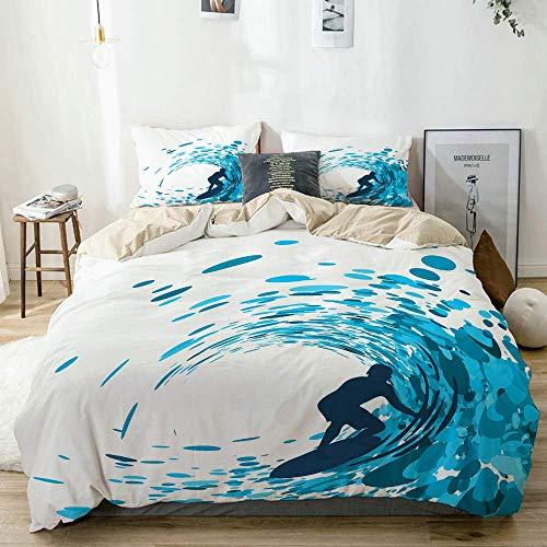 Funda nórdica beige, Ride The Wave Silueta de un surfista bajo las olas gigantes del océano Atleta Hobby Lifestyle, Juego de cama de microfibra impresa de calidad de 3 piezas, Diseño moderno con suavi