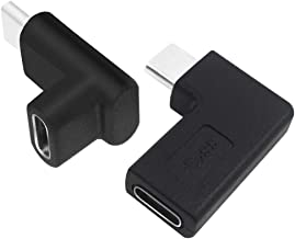 AFUNTA 2 Pieces 90 Degree USB C Type C Male to Female Adapter Bent/Black2