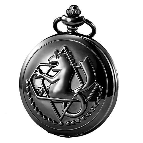 Morfong montre de poche Fullmetal Alchemist Edward Elric Anime avec FOB Chaîne Box, Noir