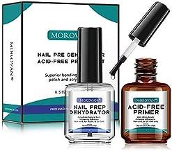 Morovan Professional Natural Nail Prep Dehydrator and Nail Acid-Free Primer Set, Acid Free Primer & Dehydrate Bond, Superior Protein Bonding, Fast Air Dry For Gel Polish & Acrylic Powder 0.5oz