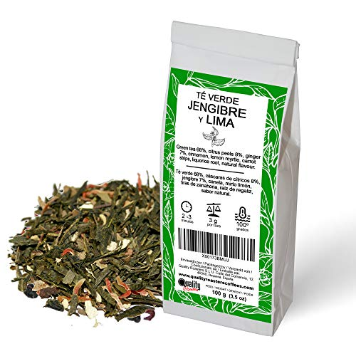 Té verde de Lima y Jengibre. Mezcla de sabor natural de té verde Sencha, sabores cítricos y especias. Ideal para tomar frío o caliente. Antioxidante. 100g