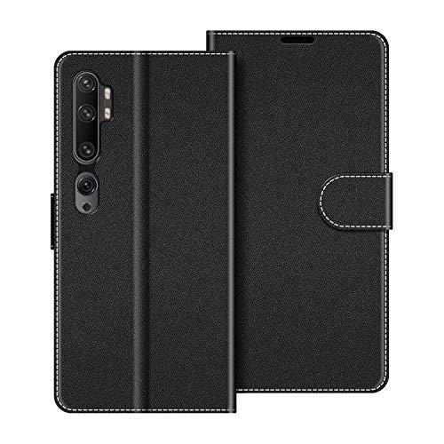 COODIO Handyhülle für Xiaomi Mi Note 10 Handy Hülle, Xiaomi Mi Note 10 Pro Hülle Leder Handytasche für Xiaomi Mi Note 10 / Mi Note 10 Pro Klapphülle Tasche, Schwarz