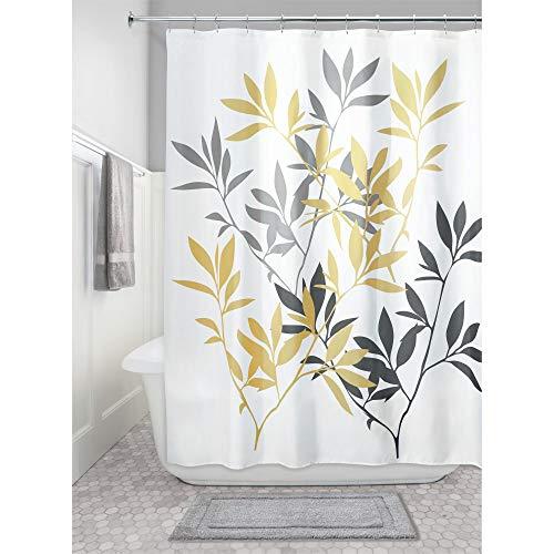 InterDesign Leaves Duschvorhang | Designer Duschvorhang in der Größe 183,0 cm x 183,0 cm | schickes Duschvorhang Motiv mit Blättern | Polyester gelb/grau