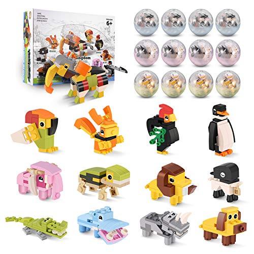 Rolytoy VraiJouet Juguetes de niños Mini Bloques de Construcción de Animales 12 Piezas de Juguetes de Construcción, Regalo de Juguete para Niños de 6 años o más Niños y Niñas