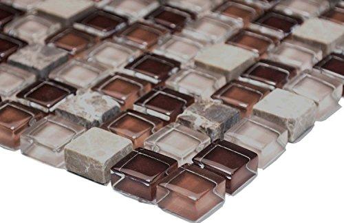 Mosaik-Netzwerk Quadrat Crystal/Stein mix braun Glas Naturstein Fliesenspiegel, Mosaikstein Format: 15x15x8 mm, Bogengröße: 60 x 100 mm, 1 Handmuster ca. 6x10 cm