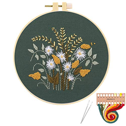 Embroidery Starters Kit with Pattern and Instruction, Stamped Cross Stitch Kits for Beginners Adults Kids Needlepoint Embroidery Hoops Cloth Thread Floss Flowers Plants Cactus
