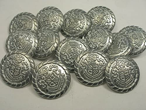Fashion Vintage Buttons For New lots Silver Military Metal Buttons Royal Crest 11/16, 13/16, 7/8 (S29) For Crafts DIY & Sewing - Model is Silver Crest Buttons 13/16'