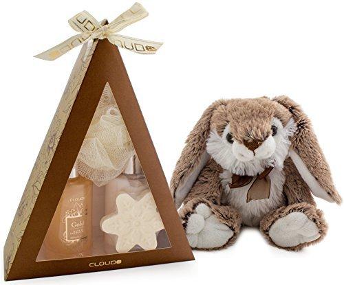 BRUBAKER Cosmetics - Coffret de bain & Peluche Lapin mignon - Vanille - 5 Pièces - Pyramide - Doré / Fleurs d'hiver - Idée cadeau Noël