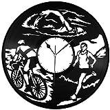 wttian Reloj de Pared de Vinilo de triatlón Amantes de los Deportes decoración de la habitación del hogar diseño Retro Oficina Bar habitación decoración del hogar