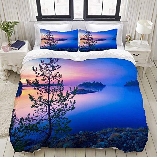 ZOANEN Sunrise Over Blue Lake Ocean Islas Bálticas al aire libre Finlandia Wild Nature River Green Scenery Juego de cama de 3 piezas (1 funda de edredón + 2 pilocases) Super King (260 x 220 cm)