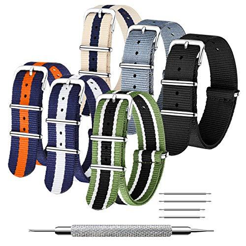 CIVO Nato Cinturino 6 Confezioni 16mm 18mm 20mm 22mm 24mm Cinturini in Nylon balistico Cinturini Zulu Fibbia in Acciaio Inossidabile con Barra a Molla e Strumento per Spilla di Collegamento