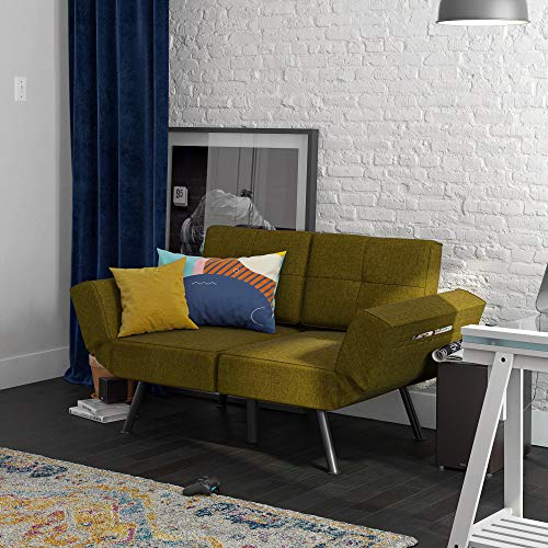 REALROOMS Euro Loveseat Futon, Reclining Sofa and Couch with Magazine Storage Pockets, Green Linen