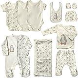 Mulberry Baby set neonato (0-3m, 50-56cm), set di 10 pezzi di vestiti e accessori per corredini per neonato o bambina (Bianco)