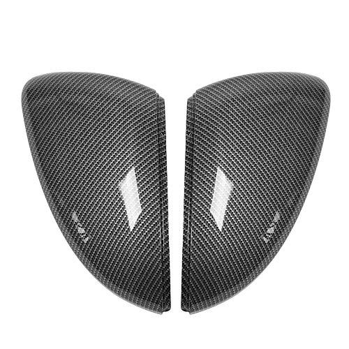 HEIZIJIA 2 Stück Rückspiegel-Spiegelkappe im Carbon-Stil für Golf 7 2014 2015 2016 2017 2017 2018 Seitenspiegelgehäuse