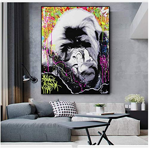 Surfilter Print auf Leinwand Gorilla Animal Abstract Leinwand Malerei Wandkunst für Wohnzimmer Schlafzimmer Modernes dekoratives Bild 23.6& rdquo; x 35.4& rdquo; (60x90cm) No Frame