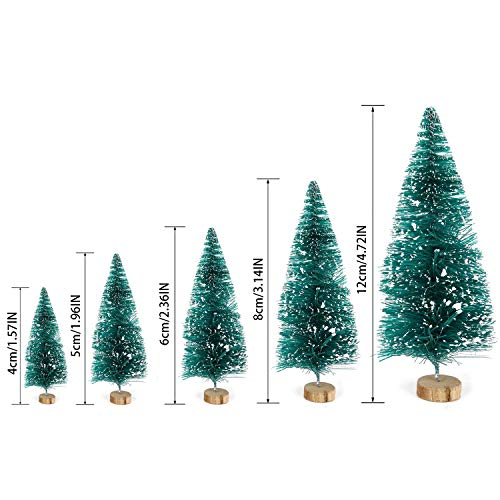 Junhe 5Pcs Artificial Mini Christmas Trees, Mini Pine Tree Sisal Trees Miniature with Snow Wood Base Ornaments for Christmas Table Top Decor Winter Crafts, Great Choice as