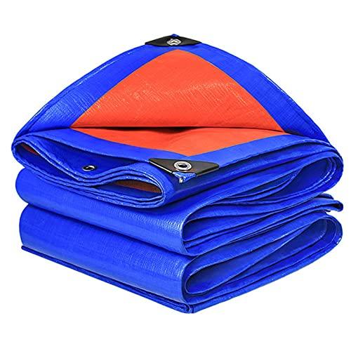 GYL Lonas, Lona de Poliéster Reversible Naranja/Azul para Exteriores con Ojales, Resistente Al Agua y a Los Rayos UV, Resistente Al Desgarro, Pintura Multiusos, Lona para Acampar