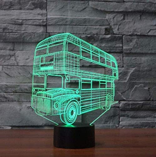Baby Spielzeug 3D LED doble Decker bus noche luz 16 color cambiante coche autocaravana lámpara de mesa USB sueño luces decoración del hogar regalos