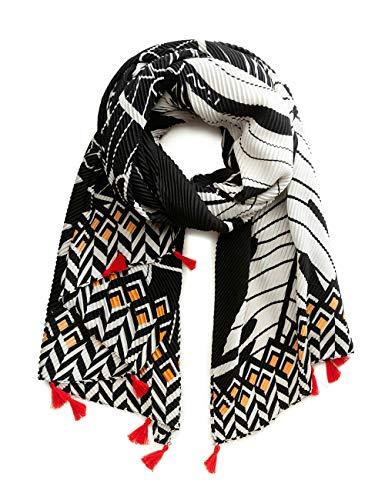 Desigual Damen Foul_Fruits Schal, Mehrfarbig (Blanco/Negro 9024), One Size (Herstellergröße: U)