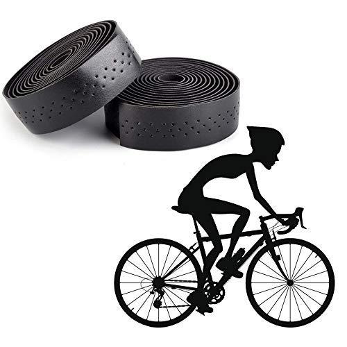 Xrten 1 Par Cinta de Manillar para Bicicleta, Estilo Retro, Negro