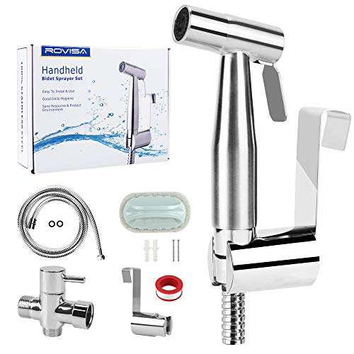 Rovisa Handheld Bidet Sprayer for Toilet, Baby Cloth Diaper Sprayer with Stainless Steel Complete Attachment and Durable Brush for Home Clean, Feminine Wash, Pet Shower