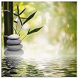 Artland Wandbild Alu für Innen & Outdoor Metall Bild 40x40 cm Wellness Spa Wasser Fotografie Grün Asiatische Spa Steine R2PS