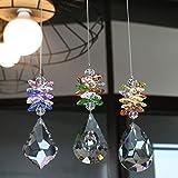 Yufeng, confezione da 3 lampadari a forma di prismi ottogono chakra, per casa, ufficio, giardino, decorazione Bauhinia, acero, prismi a forma di pipa, bellissimi ciondoli per auto, piante e finestre