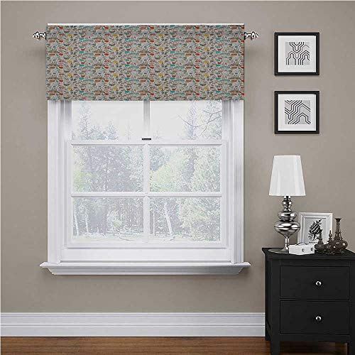 Youdeem-home Birthday Valances for Windows Boxes Garlands Music Notes Party Blowouts Cakes Candies Pie Party Hats Bedroom Living Room Waterproof Drapery Curtain Panel 60' x 18', Rod Pocket 1 Valance