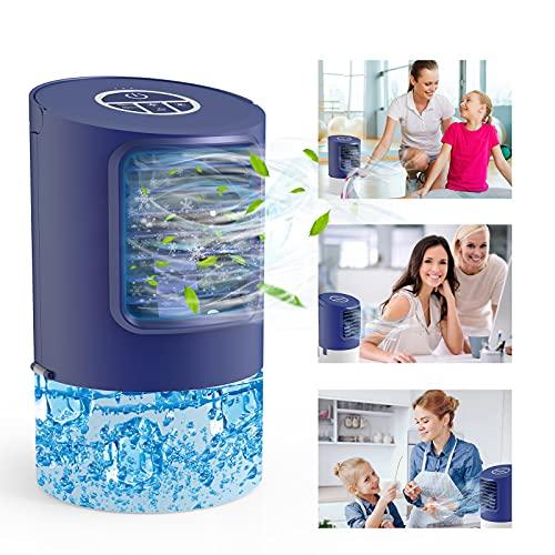 Condizionatore, TedGem Condizionatore Portatile, Mini Condizionatore, Cooler Condizionatore, 4 in 1 Mobile Air Cooler, Umidificatore, Ventilatore da Scrivania, 7 Luci LED, 3 Velocità per Casa/Ufficio