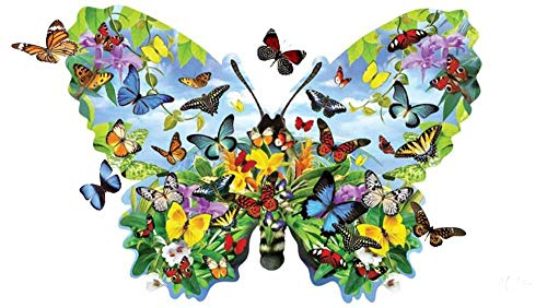 Classic Jigsaw Puzzles 1000 Pieces Adults Puzzles Wooden Puzzles Color Butterfly Group and Big Butterfly Leisure and Entertainment Puzzle Gift 29X19In