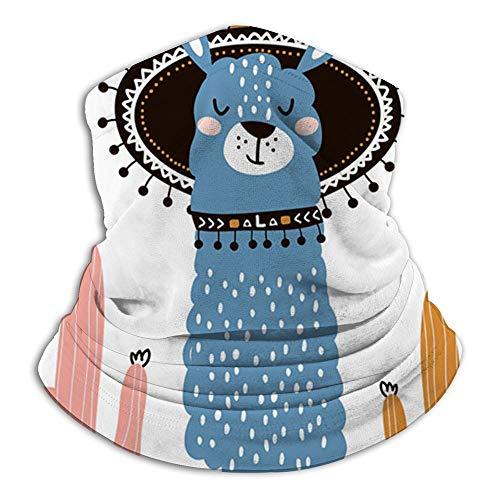 Llama linda de la historieta Estilo tribal Animales infantiles Bufanda facial Pasamontañas informal Sombreros Pañuelo elástico Diademas Protección contra el viento/sol/Uv