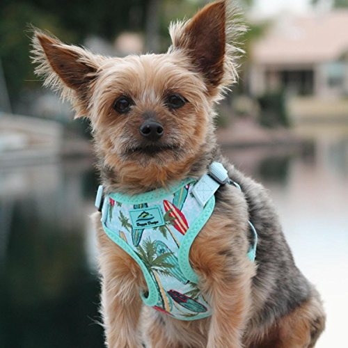 DOGGIE DESIGN Wrap and Snap Choke Free Dog Harness (Surfboards and Palms, S)