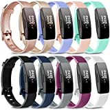 AK Soft TPU Wristbands Compatible with Fitbit Inspire 2/Fitbit Inspire HR/Fitbit Inspire/Fitbit Ace 2 Bands, Sports Waterproof Wristbands for Fitbit Inspire HR Fitness Tracker (10 PCS-A, Small)