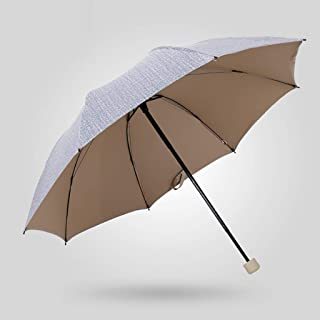 SUP-MANg Sunny Rain Umbrella Folding Male TwoDual-use Reinforcement Windproof UV Umbrella Parasol Sunscreen Female Business Tri-fold Umbrella (Color : Gray)