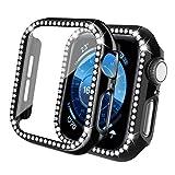 Qianyou per Apple Watch 44mm Series 6/SE/5/4 Cover+Protezione Schermo, Glitter PC Custodia Copri Protettiva in Vetro Temperato, Strass Brillanti Case Pieno Ultra Sottile Paraurti Pellicola (Nera)