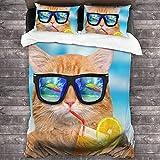 Juego de edredón Queen Cat con gafas de sol, juego de ropa de cama de lujo, suave y cómoda, colcha de microfibra para todas las estaciones, dormitorio, año nuevo regalo