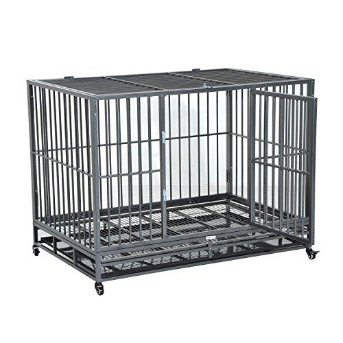 "PawHut 48"" Heavy Duty Steel Dog Crate"