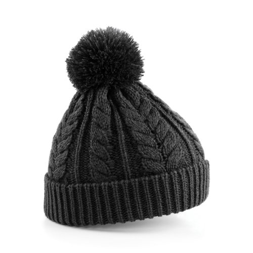 Beechfield Cable knit snowstar beanie Charcoal