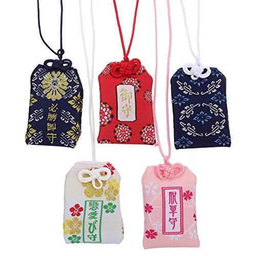 GARNECK Colgante de Omamori japonés, 5 piezas, santuario japonés, amuleto de la suerte, colgantes de amor, educación, riqueza, salud, estilo casual