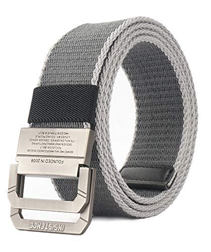 Longwu Cintura tattica casual con fibbia a doppio anello a D in tela militare da uomo Grigio